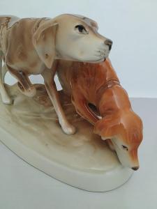 Royal dux porcelánová soška lovecké psy