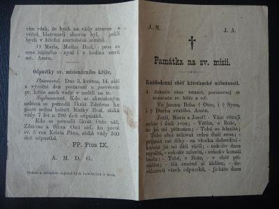 prastará motlidba (Památka ze svaté missie)