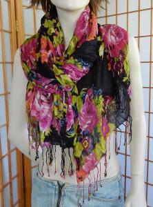 Šátek nový NEXT černý barevné květy 70x185+tř viscósa