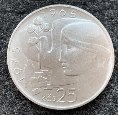 🌶 Stříbrná mince 25 Kčs Osvobození Československa 20. výročí 1965