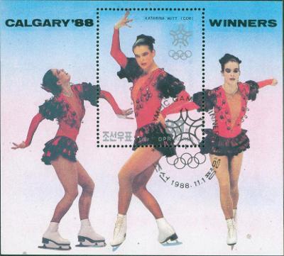 5A37 Aršík- Olympiáda CALGARY 1988/ Katarina Witt- razítkovaný s lepem