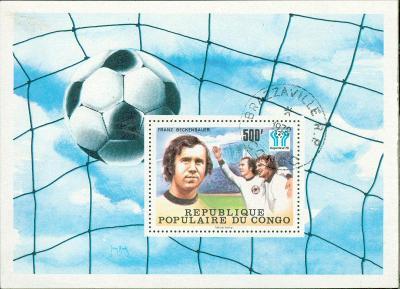 5A40 Aršík- CONGO, Fotbal, Argentina 1978, F. Beckenbauer- razítkovaný