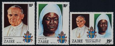 Zair 1986 Známky Mi 928-930 ** Papež Jan Pavel II návštěva