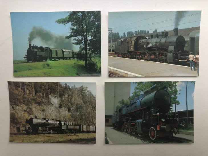 PARNÍ LOKOMOTIVY V ZAHRANIČÍ set 17pohlednicových obrázků sběratelství - Ostatní