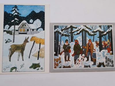 Zimní pohlednice J.Lada 2 x