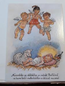 Vánoční pohlednice M.F.Kvěchová - Narodilo se dětátko .....