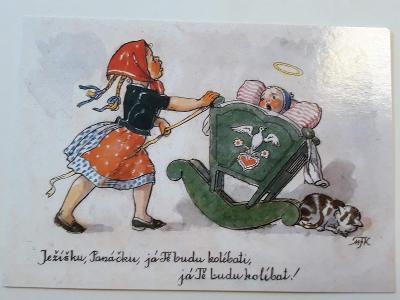 Vánoční pohlednice M.F.Kvěchová - Ježíšku,Panáčku  ....., kresba,