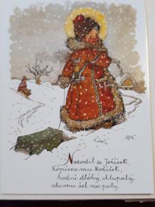 Vánoční pohlednice M.F.Kvěchová - Narodil se Ježíšek,  ....., kresba,