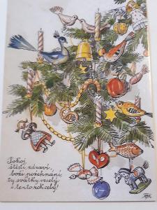 Vánoční pohlednice M.F.Kvěchová - Pokoj,štěstí  ....., kresba,