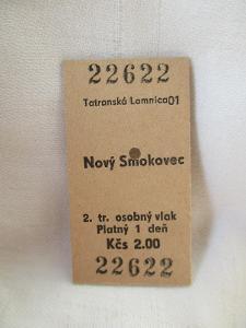 --- KARTONOVÁ JÍZDENKA ČSD : TATRANSKÁ LOMNICA 01 - NOVÝ SMOKOVEC ---