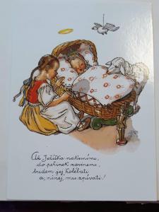 Vánoční pohlednice M.F.Kvěchová - Až Ježíška nakrmíme ....., kresba,