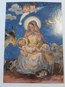 Vánoční pohlednice M.F.Kvěchová - , kresba,
