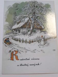 Vánoční pohlednice M.F.Kvěchová - Radostné vánoce  ....., kresba,