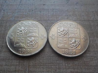 5 Kčs 1991 - LUXUSNÍ - obě mincovny!