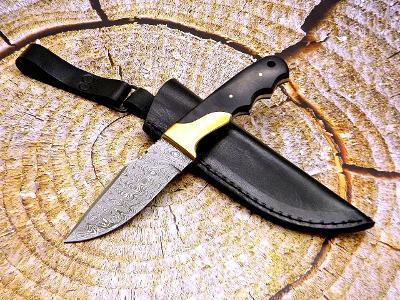 165/ Damaškový lovecký nůž. Rucni vyroba. MIKARTA MOSAZ
