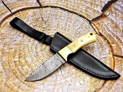 222/ Damaškový lovecký nůž. Rucni vyroba. MIKARTA MOSAZ