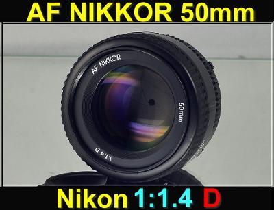 💥 Nikon AF Nikkor 50mm f/1.4 D **1:1.4, FX, PEVNÝ 50mm Objektiv*👍TOP