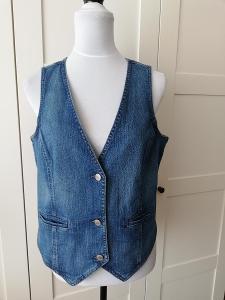 TCHIBO-Kvalitní dámská modrá, riflová vesta do pasu, M/42.