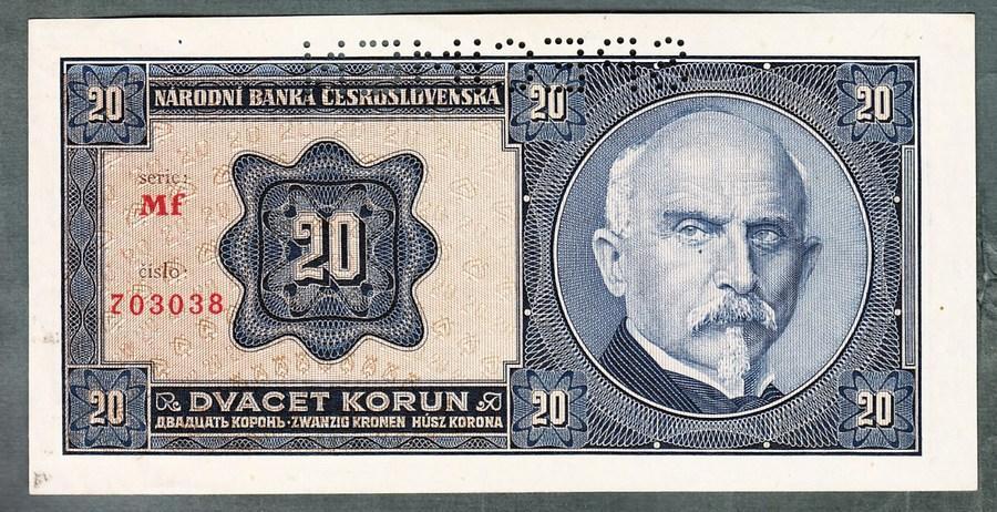 20 korun 1926 serie Mf perf. stav 0 - Bankovky