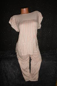 příjemné dámské pyžamo pružná tričkovina M