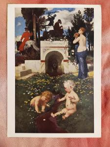 Pohlednice - Malba Vita Somnium Breve; Boecklin (NĚMECKO) - popsaná VF