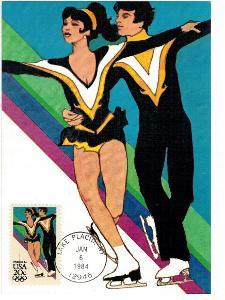 Spojené státy 1984 Známky Karta maximum CM sport Olympiáda olympijské