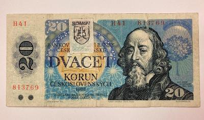 20 Sk / Kčs 1988 ( kolek)