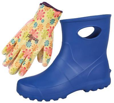 Dámské holínky Garden LEMIGO, Modré + květinové rukavice, rozměr 41
