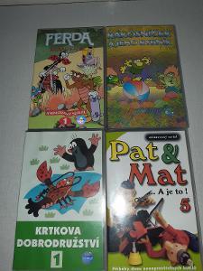 VHS kazeta- pohádky-Ferda Mravenec, Pat a Mat, Krtek, Rákosníček