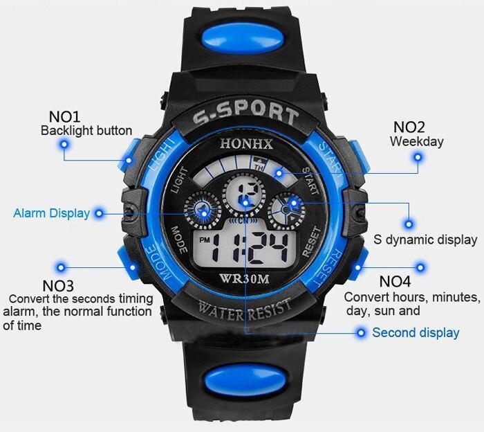 Nové pánské multifunkční sportovní LED digitální vodotěsné hodinky - Hodinky
