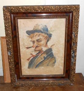 Portrét muže akvarel na papíru v rámu 50 x 60 cm signováno nečitelně