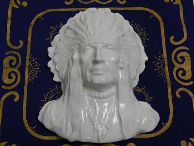 Zajímavá stará keramická Maska Reliéf Indián