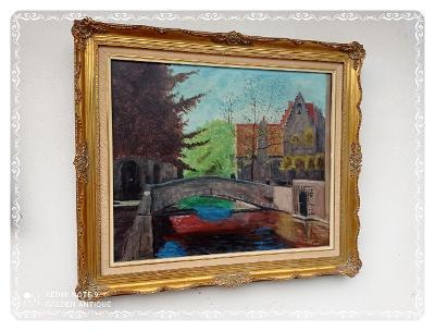 *** Luxusní dřevěný zdobený obraz malovaný olejem na plátno město ***