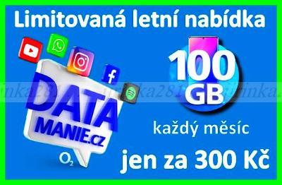 100 GB DATAmanie O2 Předplacená karta (300Kč/Měs.) *Nová/neaktivovaná*