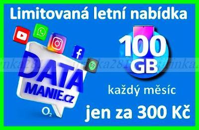 100 GB Předplacená karta O2 DATAmanie 300Kč/Měsíčně**NOVÁ**Exp:12/2022