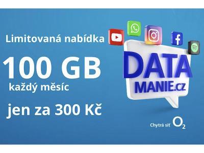 SIM O2 Datamánie 100 GB za 300Kč měsíčně