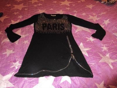 šaty pěkné teplejší-svetr s kamínky