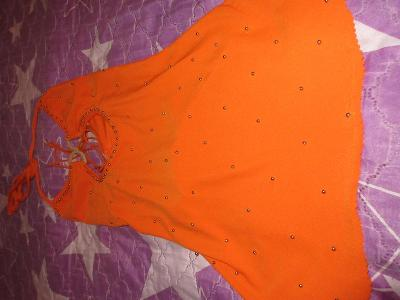 šaty  oranžové s korálky