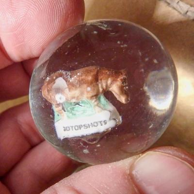 Velká hromada skleněných 3D kuliček se zvířátky Hroch 80 ks