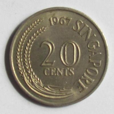 Singapur 20 centů 1967