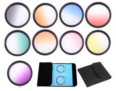 barevný přechodový gradient filtr 37mm - sada 9 ks + zdarma 2x pouzdro