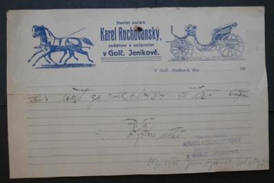 Stavitel KOČÁRŮ - K.ROCHOVANSKÝ - Golčův Jeníkov !!! 1925 ÚČET starý