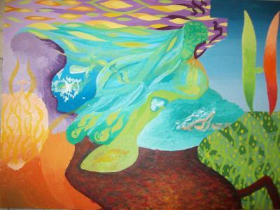 DŽIN, akryl na sololitu, 30 x 40 cm