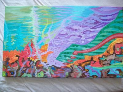 Ptačí přistání, akryl na plátně, 30 x 50 cm