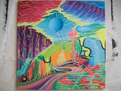 Cesta barev, akryl na plátně, 3D textury, 50 x 50 cm