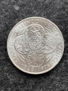 🌶 Stříbrná MINCE 50KČS MINCOVNA KREMNICA 650. VYROČÍ 1978 -PERFEKTNÍ
