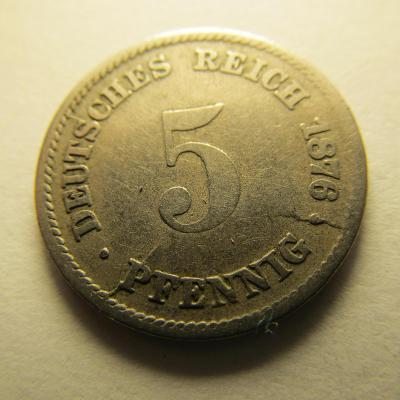 Německo, Kaiser Reich , 5 pfennig z roku 1876 G