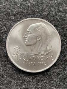 🌶 Stříbrná mince 20 Kčs Andrej Sládkovič 50. výročí úmrtí 1972