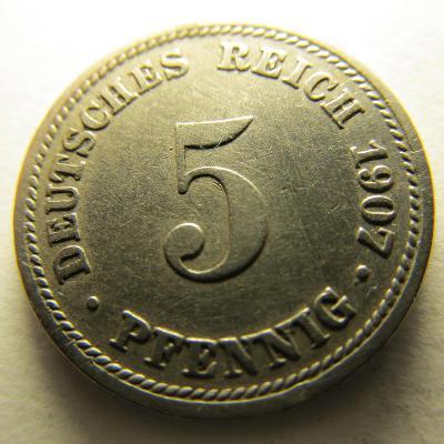 Německo, Kaiser Reich , 5 pfennig z roku 1907 D