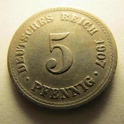 Německo, Kaiser Reich , 5 pfennig z roku 1907 F